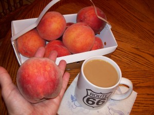 Fresh peaches and coffee w/cream... An Emjayandthem (C) photo