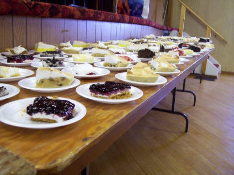 one end of the pie table.