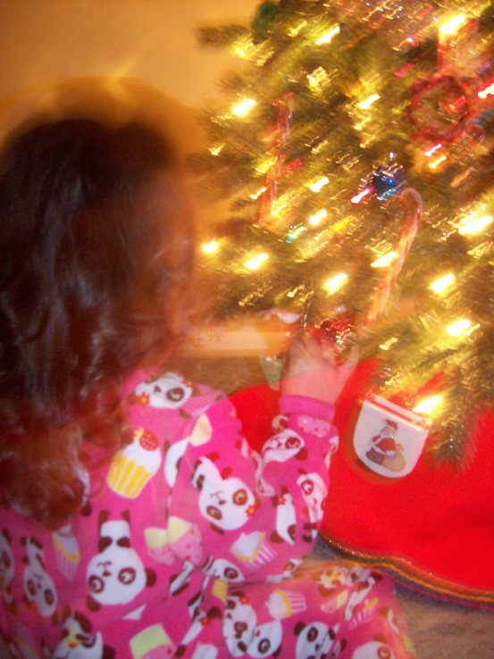 grand-daughter MJ enjoying the tree; an emjayandthem photo