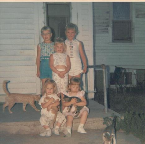 Oodles of kittens. That's me, lower left and my best cousin and friend, Deb next to me. Behind us is my sister and in ther ver