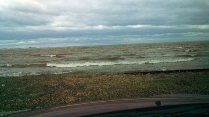 Lake Huron .. from inside my car, way too cold to get out and stand!