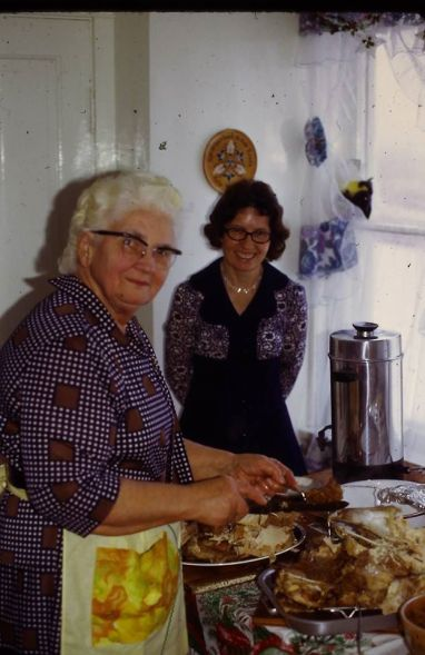 Grandma and Mom in the kitchen together