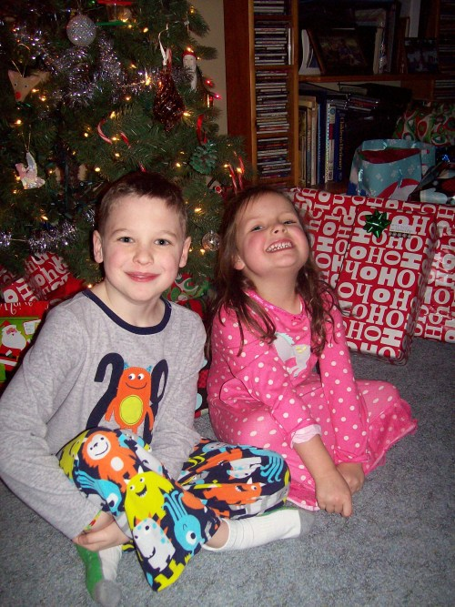 the grands readying for bed; Christmas Eve, 2013