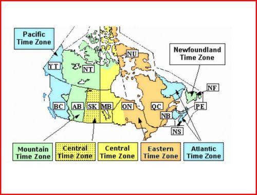 Canadian Time Zones; google.com