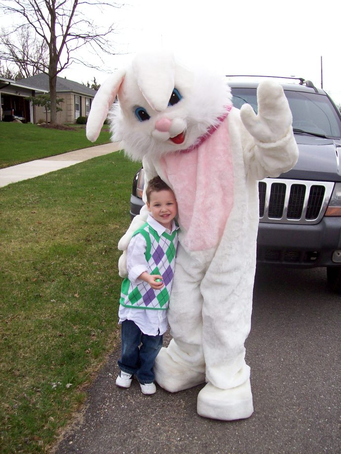 Mr. Bun Bun visits the family across the street every Easter; here's our grandson being overwhelmed at the meeting!  2010