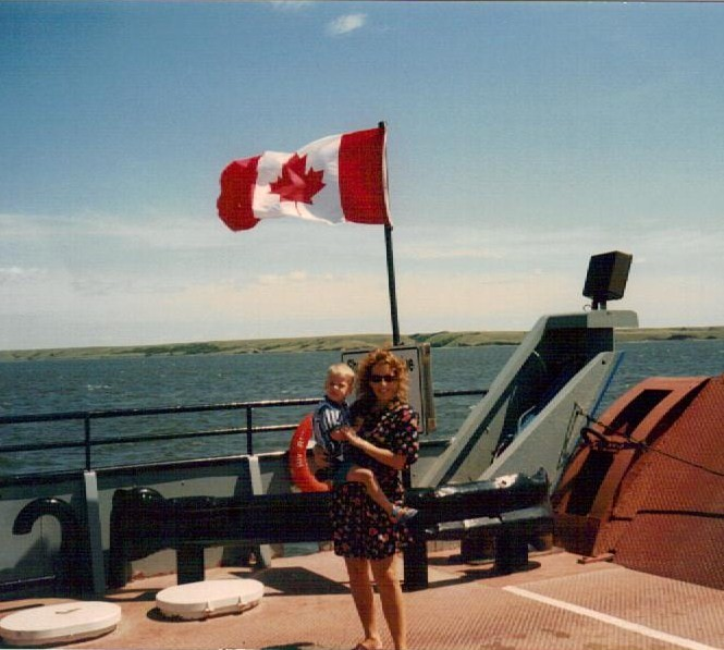 Summer 1996; crossing Lake Diefenbaker, SK Canada on the Riverhurst Ferry.  An Emjayandthem (C) photo