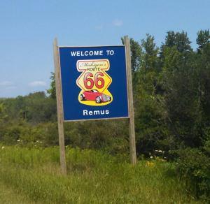 Michigan's Route 66, near Remus, MI