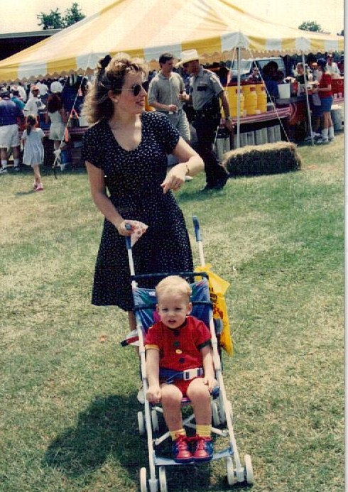Employee picnic, 1995.  Me & youngest boy who was distressed by the 'love bugs' - An Emjayandthem(C) photo