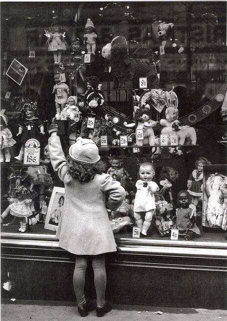 little girl store window