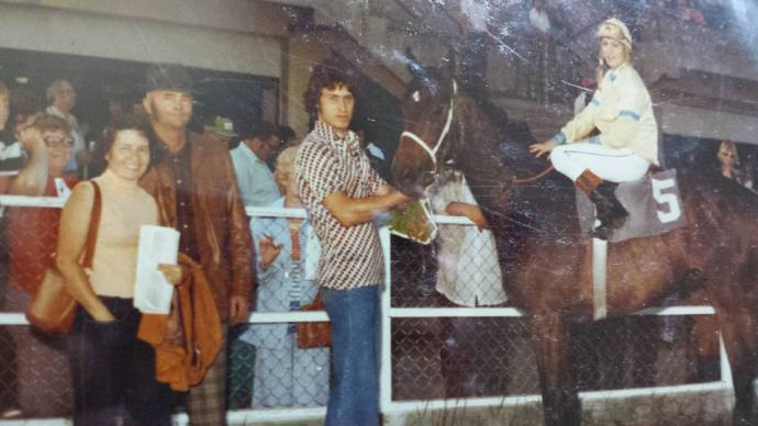 Mom and Dad with one of their winning horses - and a date night. An Emjayandthem(C) photo